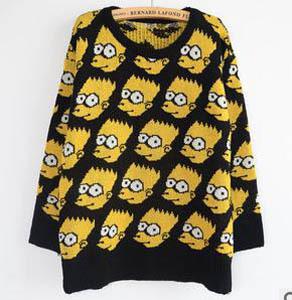 venta al por mayor venta caliente de la moda 2013 lindo bart simpson suéter outwear suelta divertidos dibujos en de en Aliexpress.com