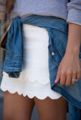 skirt scalloped skirt white white skirt scallop scalloped