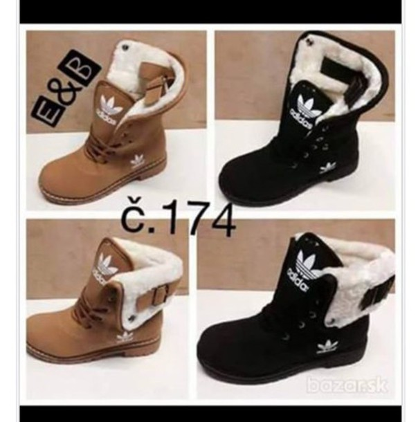 Shoes Brown Black Boots Adidas Fur Wheretoget