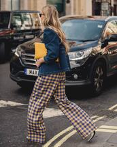 bag,clutch,wide-leg pants,pants,checkered pants,boots,denim jacket,sunglasses