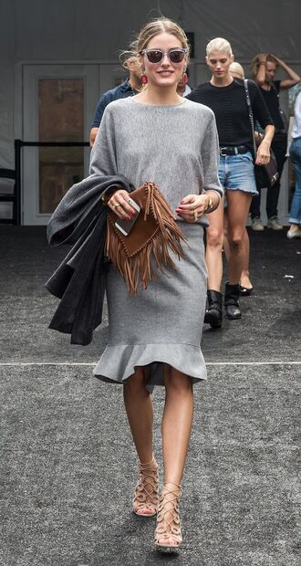 skirt all grey outfit all grey everything grey skirt flare skirt top grey top long sleeves high heel sandals sandals nude sandals coat grey coat bag fringed bag brown bag sunglasses olivia palermo celebrity