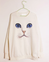 sweater,tumblr,cats,japonese,kawaii,pullover,long sleeve shirt,cat face,white,clothes,shirt,pants,culottes,baby blue,tied waist