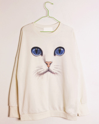 sweater tumblr cats japonese kawaii pullover long sleeve shirt cat face white clothes shirt pants culottes baby blue tied waist