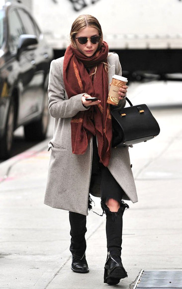 coat fall outfits sunglasses ashley olsen olsen sisters