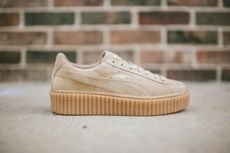 shoes rihanna pumas puma puma sneakers nude creepers