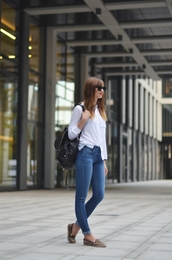 vogue haus,blogger,jeans,jewels,sunglasses,animal print,blouse,leather backpack,shirt,shoes,smoking slippers,hair accessory,college