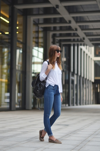 vogue haus blogger jeans jewels sunglasses animal print blouse leather backpack shirt shoes smoking slippers hair accessory college