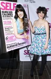 zooey deschanel,print,blue dress,white dress,purple dress,dress