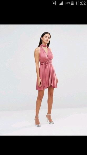 dress pink pretty dress! short dress pink dress halter dress