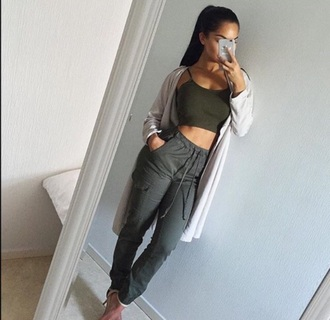 jeans crop tops pants cardigan long cardigan olive green tie cord