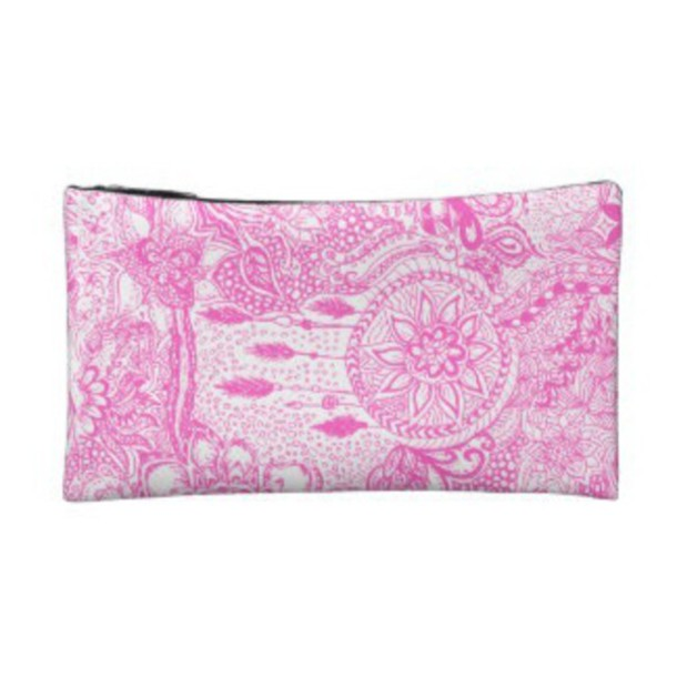 bag pink dreamcatcher white makeup bag