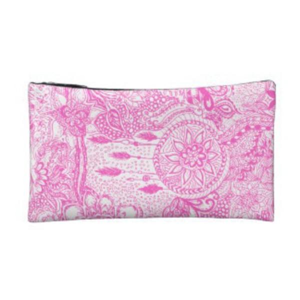 bag pink dreamcatcher white makeup bag