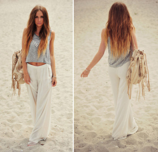 pants white pants beach beach pants boho baggy pants bohemian shirt bag white wide leg pants beach comfy wide-leg pants casual tank top flowy grey purse palazzo pants white baggy clothes jeans t-shirt jewels necklace summer loose flow cute long boho top grey large cream outfit waves ombr? hair tie dye hippie pants trouser high waisted harem pants parachute pants beautiful pants beige linen beach pant white boho pants
