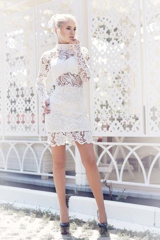 kristina dolinskaya blogger dress long sleeve dress lace dress cocktail dress white lace dress white lace romantic summer dress