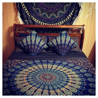 home accessory queen bedcover hippie tapestries bedding throw blanket hippie blue queen size shams college room decoration party decoration marriage decoration