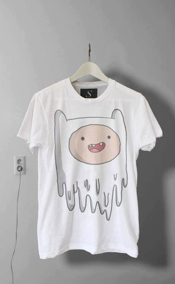 shop brand euonly whichbrand ukonly t-shirt adventure time baggy tshirt white finn the human shirt finn white tee melting tupac dope white black grunge