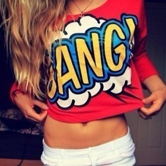 shirt bang red cartoon