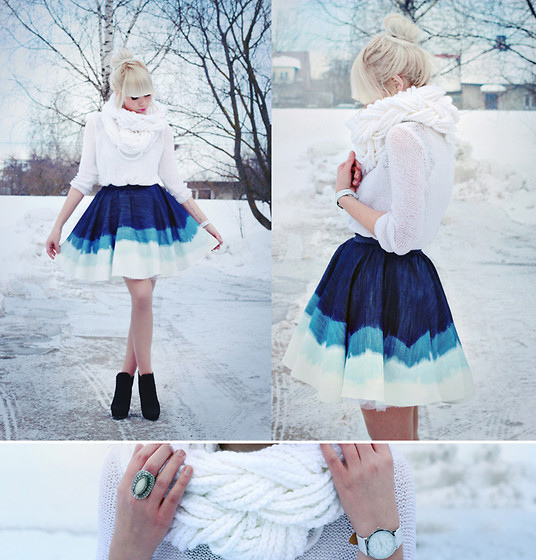 Selfmade Braided Scarf, Selfmade Bleached Denim Skirt, Boots, Romwe Sweater - To drown in a bleached denim sea. - Kerti P. | LOOKBOOK