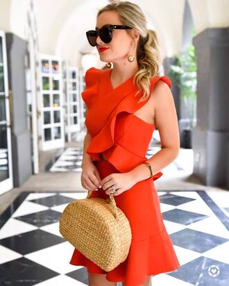 dress tumblr red mini dress mini dress red dress ruffle ruffle dress bag basket bag date outfit date dress spring date night outfit spring outfits spring dress sunglasses earrings gold earrings jewels jewelry gold jewelry