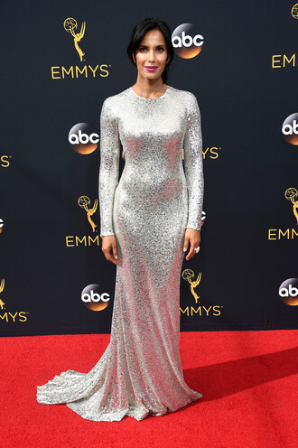 dress padma lakshmi sequins metallic silver gown long sleeves long prom dress emmys 2016 red carpet dress prom dress