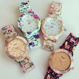 jewels jewel watch flowers printed flowers hot drreamtaker post gold watch
