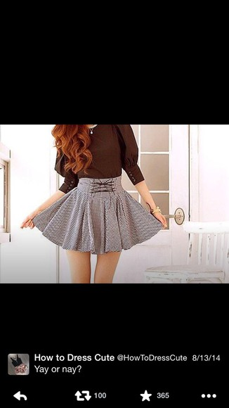 blouse grey skirt