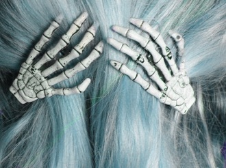 jewels skull hair clip hair accessory skeleton bone hand skrleton hand hair accessory