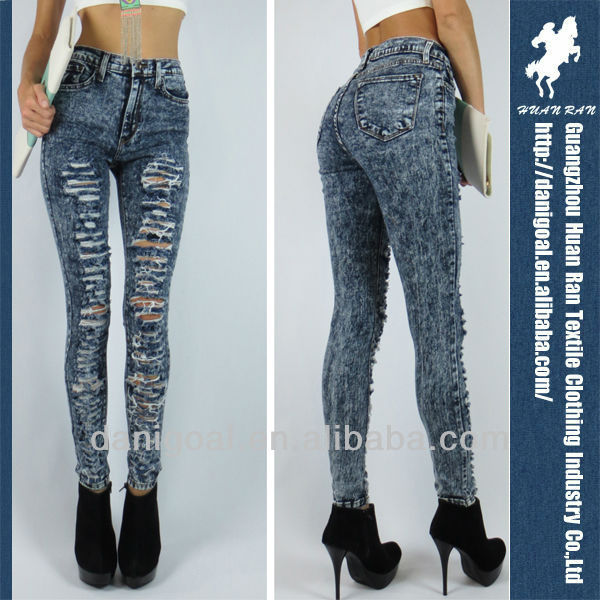 Dark Destroyed Acid Mineral Wash High Waist Skinny Ripped Denim Pants Jeans 1-13 - Buy Skinny Ripped Jeans,Dark Jeans,Denim Pants Product on Alibaba.com