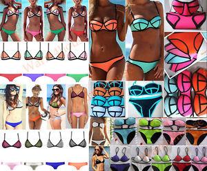 Women sexy bandage triangle bikini set push