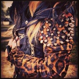 leopard print spikes black leather jacket zip jacket