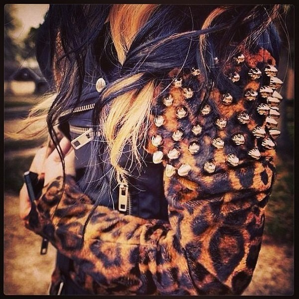 leopard print spikes black leather jacket zip jacket spiked leather jacket