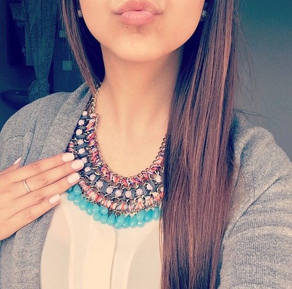 boho hippie colourful jewels gold necklace gold necklace