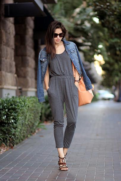 fake leather jumpsuit jacket bag jewels sunglasses shoes grey