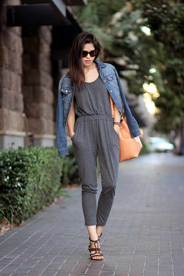fake leather jumpsuit jacket bag jewels sunglasses shoes grey