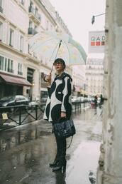 natalie off duty,blogger,dress,shoes,bag,sunglasses,boots,black and white