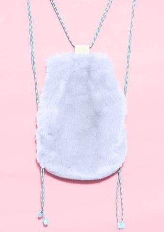 bag furry shoulder bag fluffy backpack back to school lilac pastel pastel bag furry bag