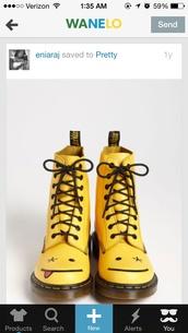 shoes,DrMartens,boots,neon yellow,yellow,mustard,smiley,emoji print,wanelo