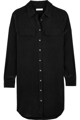 dress shirt dress mini silk black