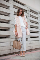 lovely pepa,blogger,pink jacket,vest,spring outfits,baby pink,white sweater,pink vest