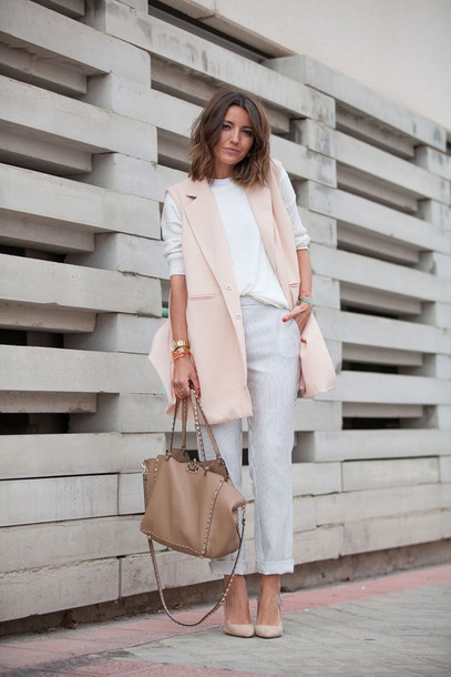 510f5c64b4 lovely pepa blogger pink jacket vest spring outfits baby pink white sweater  pink vest