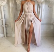 dress,nude,nude dress,long dress,nude long dress,pale,pink dress,prom,prom dress,prom gown,tan,fairy,pretty,beige long formal,nude high heels,tan halter 2 slit dress,belt dress,long prom dress,maxi dress,summer dress,summer outfits,spring,spring outfits,cream,beautiful,beach,beige dress,slit dress,sleeveless,halter dress,cute dress,sexy dress,cut-out dress,classy dress,beige,elegant,cute,flowy dress,formal dress