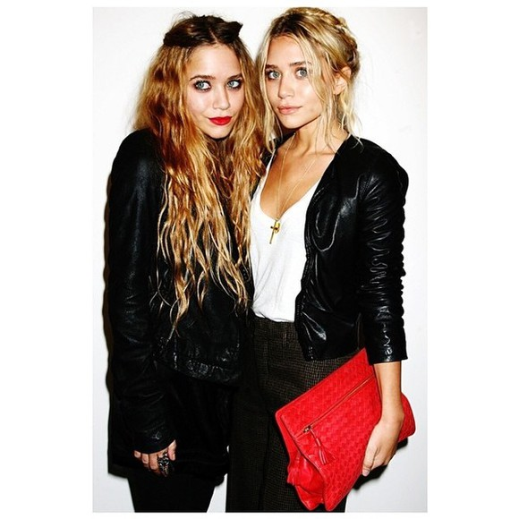 mary kate olsen jacket ashley olsen leather jacket black