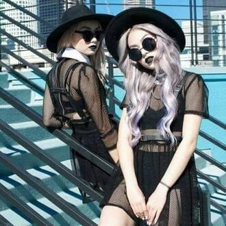dress black dress fishnet