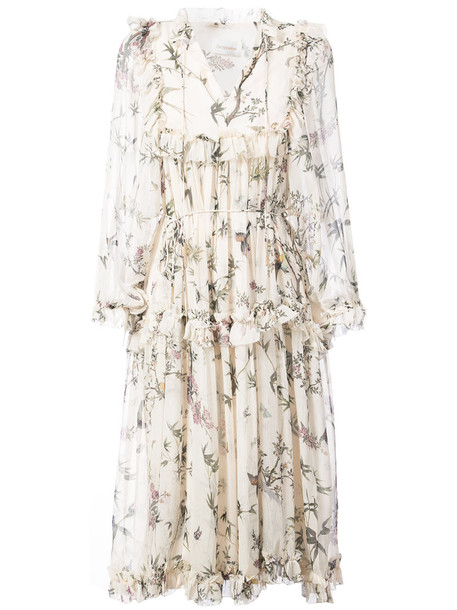 Zimmermann dress midi dress women midi spandex white print