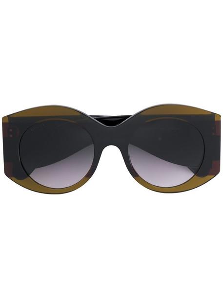 Gucci Eyewear - oversized round frame sunglasses - women - Acetate - 51, Brown, Acetate