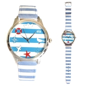 jewels,marine watch,marine,blue,white,leather watch,bright watch,colourful watch,unusual watch,unique watch,beautiful watch,blue and white stripes
