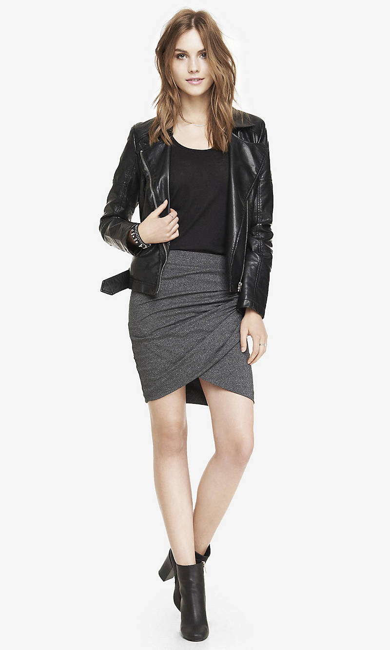 MARLED RUCHED CRISSCROSS MINI SKIRT from EXPRESS