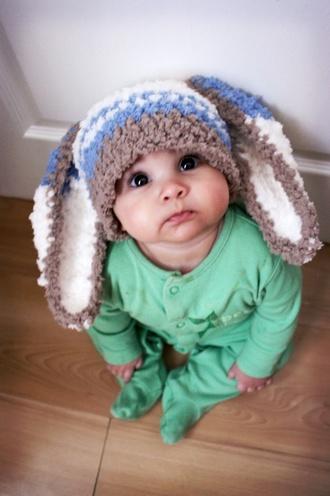 hat baby boy bunny ears blue white bunny ears