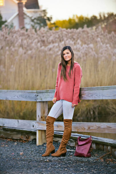 to be bright blogger sweater shoes bag pink sweater boots over the knee boots fall outfits