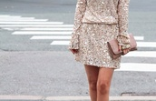 dress,sequins,sequin dress,mini dress,beige dress,beige sequins,bag,clutch